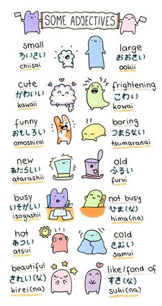 "There are two different types of japanese adjectives. ""i-adjectives"" and ""na-adjectives"". Some examples ^-^"
