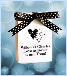 Willow and Charles married at St. Joseph Catholic Church in San Antonio. Black and white is the classic look that never goes out of style. This party favor box is great for weddings and is the perfect solution for the budget-conscious, practical bride. These boxes ship flat, in one piece and set up takes 20 seconds. Ribbon is sold separately. Who gets tired of polka dots? It's timeless. Have fun with your favors! Visit www.favorsyoukeep... or call 512.323.0600. Family business since 1987!