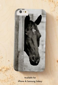 Curious Black Horse Equestrian Phone Case - From the Painting Pony - Give your cell phone a make-over with one of our beautiful designer horse phone cases! This stylish and classic equestrian themed electroics case features a curious black horse head peeking around a wood barn wall. Perfect for the horse lover to add some character to their phone!