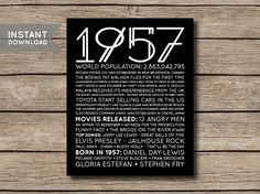 1957 Printable 60th Birthday or Anniversary by shopmarigoldlane