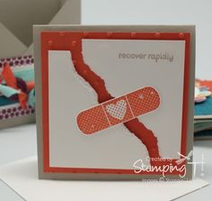 "handmade ""quick recovery"" card ... luv this!! ... torn panel held together with a bandaid ..."