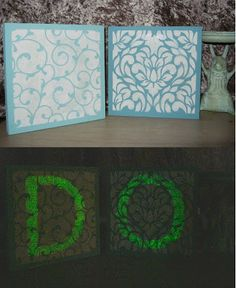 glow in the dark inspirational word art Stefanie Girard stencil art, Judikins, Waverly paint, Martha Stewart paint