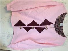 Sweatshirt Cardigan Pink & Burgundy Size Medium - pinned by pin4etsy.com
