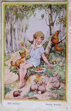 Dorothy Wheeler Children's BAMFORTH Postcard~THE PICNIC