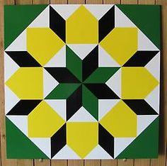 Star of Bethlehem SB0005 Star of Bethlehem barn quilt pattern in lemon yellow, medium green, white and black. Great color inspiration for my next quilt.
