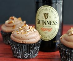 cigar and chocolate stout cupcakes-poker night - Buttercream Bakehouse Guinness Chocolate, Best Chocolate, Chocolate Desserts, Beer Cupcakes, Cupcake Cakes, Small Desserts, Just Desserts, Frosting Recipes, Cupcake Recipes