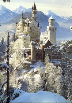 schloss neuschwanstein castle in bavaria, germany in the winter. I want to go to a real castle. The Places Youll Go, Places To See, Photo Chateau, Sleeping Beauty Castle, Germany Castles, Neuschwanstein Castle, Famous Castles, Beautiful Castles, Chateaus