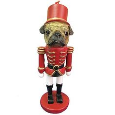 $6.87-$10.98 Fawn Pug Soldier Handpainted Christmas Tree Ornament - Nut Cracker Holiday Ornament Capture the spirit of the holidays! Give as a gift or adorn your tree with this adorable hand-painted, toy soldier ornament. Done up in a classic nutcracker style, with gorgeous details and a realistic face that shows off the beauty of your favorite dog. Makes a thoughtful Christmas gift for any dog  ...