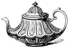 Victorian tea pot, vintage teapot clip art, black and white illustration, antique tea pot printable, tea party graphics