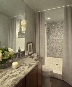 Bathroom with open walk-in shower #tile