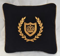 """Embroidered Gold Crown Pillow Made w Navy Blue Velvet Fabric 12"""" Trim Cord New 