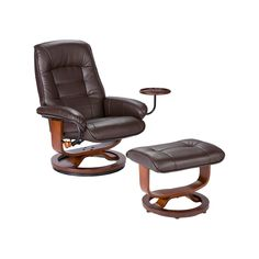 Settle into luxury with this Southern Enterprises Leather Swivel Recliner with Ottoman . This classically elegant recliner is expertly crafted of luxurious,. Brown Leather Recliner, Leather Recliner Chair, Swivel Recliner, Leather Ottoman, Recliner Chairs, Leather Chairs, Sectional Sofas, Modern Recliner, Leather Sofas