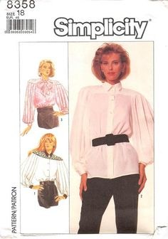 SIMPLICITY 8358 - FROM 1987 - UNCUT - MISSES LOOSE-FITTING BLOUSE