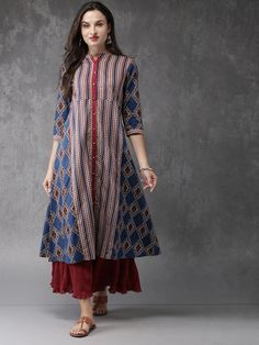 Buy Anouk Women Navy Blue & Maroon Printed A-Line Kurta online in India at best price.avy blue and maroon printed A-line kurta with sequin detailing, has a mandarin collar, three-quarter Womens Fashion Casual Summer, Casual Summer Dresses, Boho Fashion, Kurti Neck Designs, Kurta Designs Women, Dress Designs, Indian Dresses, Indian Outfits, Indian Clothes