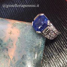 Art Deco platinum and diamond ring centering a Ceylon, no heat sapphire. 8.80 carats c.a. 1930