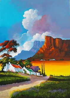 ~Solly Manthata, oil on canvas. Landscape Artwork, Abstract Landscape Painting, Colorful Paintings, Beautiful Paintings, Bright Colors Art, South African Art, Cottage Art, Encaustic Art, Art For Art Sake