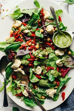 DELICIOUS Green Salad with Almond Ricotta, Vibrant Pesto, and Sun-Dried Tomatoes! 30 minutes, simple ingredients, SO healthy!