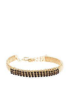 """www.myhabit.com  Simply chic, this shimmery bracelet is crafted in 18K gold plated over brass and features a wired wrap design bejeweled with sparkling round-cut crystals made with Swarovski elements; 1"""" extender"""