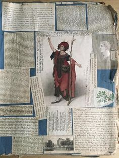 Large Early 19thC Scrapbook with Cuttings Prints Scraps