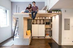 petit espace design moderne aménagement lit idée fonctionnel parquet échelle icosa