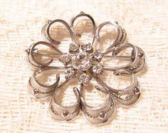 Sterling Silver Filigree Rhinestone Brooch by ViksVintageJewelry, $24.99
