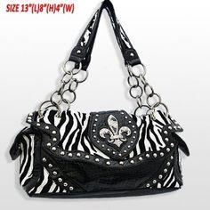 Amazon.com  BLING Zebra Black Faux Patent Leather w Fleur De Lis Crystal    Rhinestone Accent Shoulder Bag by Jersey Bling  Clothing bf6492f605d58