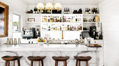 Josephine Restaurant in Austin, TX with Carrara marble countertops // restaurant design