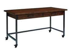 With work purpose in mind, this Framework Desk from Magnolia Home's Industrial occasional collection has two drawers for supplies and leg casters to move it where you need.
