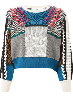 Shop Toga Pulla cropped intarsia sweater in Feathers from the world's best independent boutiques at farfetch.com. Over 1000 designers from 300 boutiques in one website.