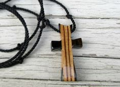 Wood Cross Pendant  Striped Ebony & Zebrawood by TheLotusShop, $16.95