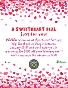 You could win $500 off your February rent! All you have to do is review us online. It's as easy at that! #Twelve501 #FindYourHome