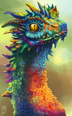 Fantasy Diamond Painting Kits that include Fairies and Dragons and all things fantasy. Dragon Head, Dragon Art, Fantasy Dragon, Fantasy Art, Mythological Creatures, Magical Creatures, Creature Design, Rainbow Colors, Amazing Art