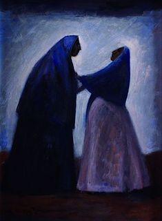 Two women, 1950s - by Carlos Orozco Romero (1896 - 1984),  Mexican Diego Rivera, Pierre Auguste Renoir, Edgar Degas, Various Artists, New Artists, Gerardo Murillo, Jose Maria Velasco, Clemente Orozco, Social Realism