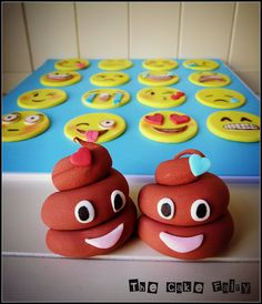Emoji cupcake toppers by he Cake Fairy. See more work at www.facebook.com/cakefairynj