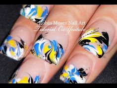 No Water Needed Marble nails | DIY Marbling Nail Art Design Tutorial - YouTube