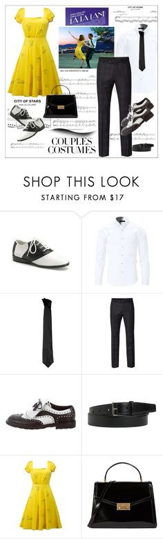 """""""La la land couple..."""" by nihal-imsk-cam ❤ liked on Polyvore featuring Sebastian Professional, Versace, Ben Sherman, Dolce&Gabbana, Yves Saint Laurent, Tory Burch and couplescostumes"""