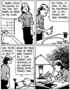 Calvin And Hobbes Quotes, Calvin And Hobbes Comics, Snoopy Comics, Peanuts Comics, Comic Strip Love, Funny Comic Strips, Love Is Quotes Funny, Archie Comics Strips, Comic Strip Template