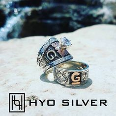 "Romance Forever Ring Set starting at $ 700.00 SKU: FOREVER-SET-8 Romance Forever Ring Set  Say ""I love you"" with this stunning his and her Romance Forever Ring Set by Hyo Silver.  You'll love this western wedding ring set for him & her!  Customize with your own brand or initials!"