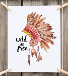Dorm wall art wild and free native american feather headress print tribal print…