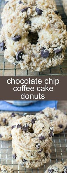 Chocolate Chip Coffee Cake Donuts {A Deliciously Fun Breakfast} donuts/ coffee cake/ chocolate chips Baked Chocolate Chip Coffee Cake Donuts with a butter crumb topping and full of chocolate chips. Perfect for a weekend breakfast treat! via @tastesoflizzyt
