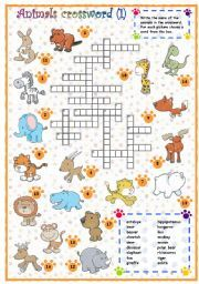Here You Can Find Worksheets And Activities For Teaching Animals Crossword To Kids Teenagers Or Adults Beginner Intermediate Advanced Levels