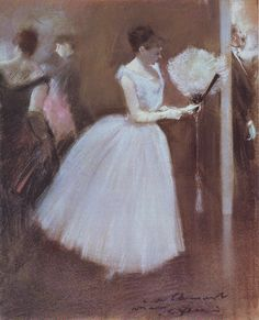 Femme en blanc avec un éventail - Jean Louis Forain