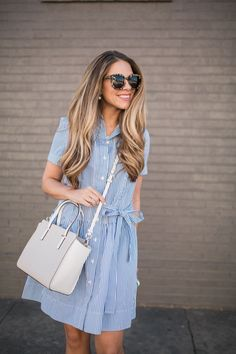 A look at fun and colorful pieces from the Kate Spade Spring collection at Nordstrom. This Stripe Pleated Shirtdress is the perfect option for Spring! Source by Dresses Adrette Outfits, Preppy Outfits, Fashion Outfits, Stylish Outfits, Fashion Clothes, Look Fashion, Trendy Fashion, Fashion Models, Diva Fashion