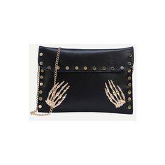 SheIn(sheinside) Black Metal Skeleton Hand Accent Studded Clutch Bag ($12) ❤ liked on Polyvore featuring bags, handbags, clutches, black, studded purse, metal purse and studded handbags