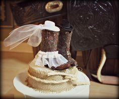 Cowboy Boots Wedding Cake TopperWestern Themed by MorganTheCreator