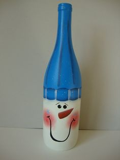 Snowman Bottle by ThimbleberryCreation on Etsy, $20.00
