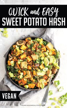 This easy sweet potato breakfast hash is vegan, gluten-free, oil-free and can be customized to whatever veggies you have on hand. Try it for a quick, healthy vegan breakfast that will keep you full for hours. Sweet Potato Breakfast Hash, Breakfast Potatoes, Savory Breakfast, Breakfast Salad, Breakfast Dessert, Healthy Vegan Breakfast, Breakfast Recipes, Breakfast Ideas, Keto Vegan