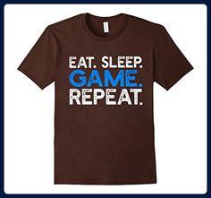 Mens Eat Sleep Game Repeat - Funny Video Gaming Saying T-shirt Large Brown - Gamer shirts (*Amazon Partner-Link)