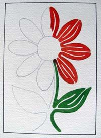 flower painting using only one line...see finished painting...........