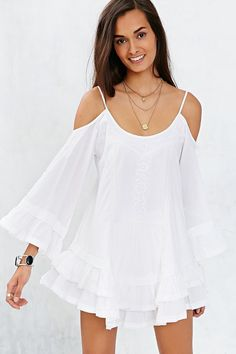 Band Of Gypsies Bell-Sleeve Embroidered Cold-Shoulder Top - Urban Outfitters
